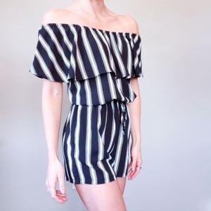 NWT Mimi Chica Black & White Striped Romper